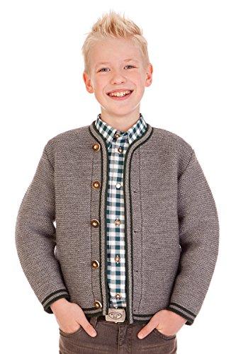 Trachten Kinder Strickjanker - J002 - dunkelbraun, grau, jeansblau, Größe 116