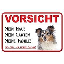 """Schild - Vorsicht Sheltie """"Mein Haus"""" BLUE-MERLE Shetland Sheepdog Hund Warnschild Achtung Türschild (20x30cm)"""