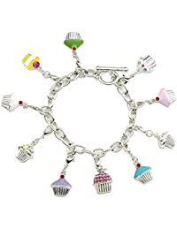 Silver Plated 10 Charm Cupcake Bracelet With T - Bar Clasp