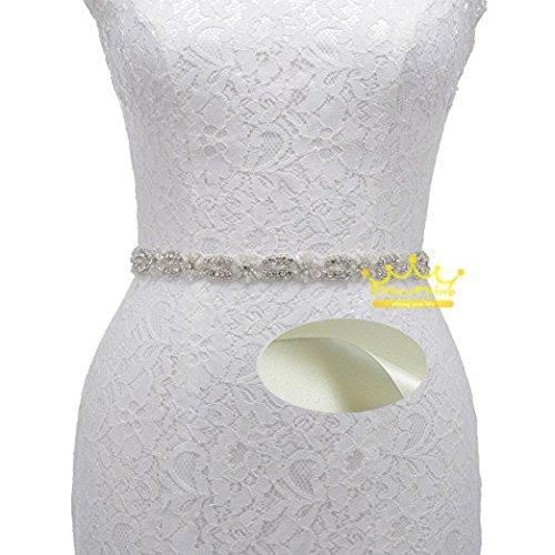 shinyshine weiß Braut Schärpen Gürtel Strass Gürtel Band Damen Braut Schärpe 45x2cm(18x0.8inch) elfenbeinfarben -