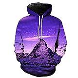 WEIYIGE Sweatshirt 3D Printing Iceberg Pocket Rollkragenpullover Herren Cap Herren Pullover - XL