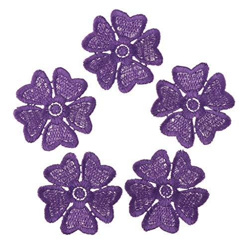 FLAMEER 5 Stück Stickerei Blume Aufnäher Applikation Patches Abzeichen Kleidung Stoff Applique 5,5 cm - Lila -