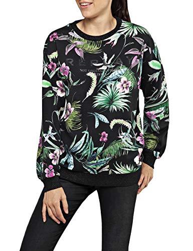 Replay Damen W3871 .000.72052 Sweatshirt, Mehrfarbig (Black&Multicolor Flowers 10), Medium (Herstellergröße: M)