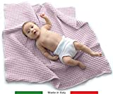 Baby Italy Copertina Neonato per Carrozzina, Culla, Lettino, Passeggino in Cotone Biologico, 75x90cm - Prodotto Italiano (Rosa)