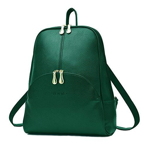 Nevenka Zaino Donna Borsa a Spalla in Pelle PU Zainetto Casual Borsa a Mano Backpack alla Moda per Shopping Scuola Viaggio Vacanza (verde)