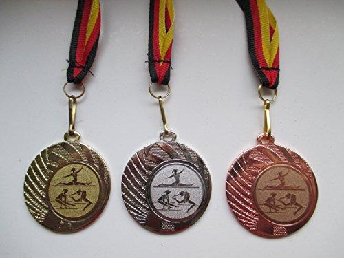 Medaillen Gymnastik Pokal Kids 10 x Medaillen Deutschland-Bändern Emblem Turnier Turnen