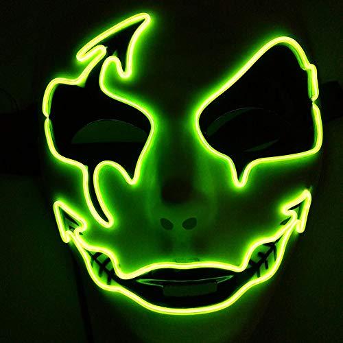 Yalatan Halloween-Panikmaske, Dekorative Gesichtsmasken in Nachtatmosphäre, LED-Licht emittierende Ghoststep-Maske für Männer Frauen (9 Farben erhältlich) (Farbe Halloween-masken Zu Und Machen)