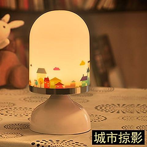 HJHGE Regalos de Navidad Creative Smart Sensor de vibraciones dormitorio cama lámparas LED de carga USB pequeña luz de noche ,
