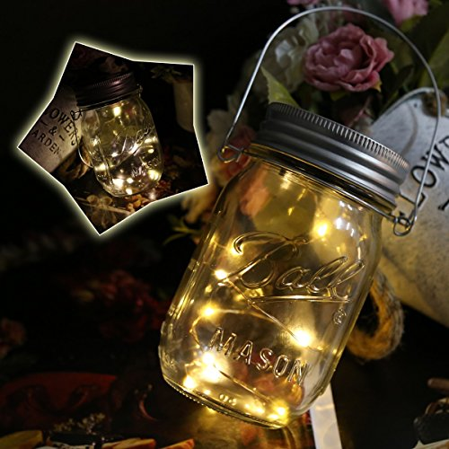 Freebily Solar Mason Jar Light Solarlampe Solar-Laterne Licht Deckel Solarleuchte Ledkette für Zuhause Party Garten Weihnachten Hochzeit warm&weiß 6 set (Warmes Zuhause)