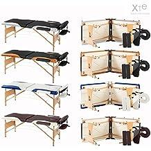 Camilla de masaje, 2 secciones, de madera, portátil, bicolor