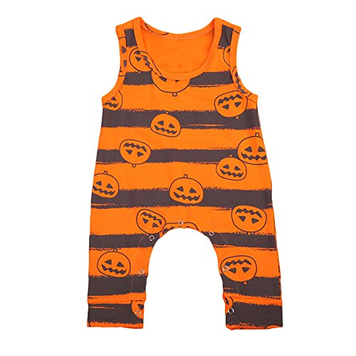 EROSPA® Baby Strampler Kürbisgesicht Halloween Overall Body Unisex Mädchen Jungen Orange gestreift 0-6 Monate (Overalls Orange Halloween)