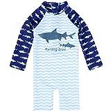 Duevin Jungen Badeanzug, Kinder Shark Langarm Bademode Rash Guard UV-Schutz (8-Blau)