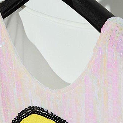 NiSeng Donna Tops Glitter Faccina sorridente Paillettes Stampa Shirt Senza Maniche Canottiere Rosa