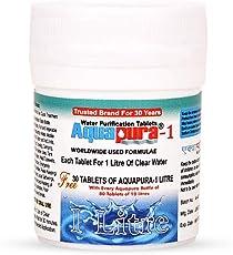 Aquapura-1 Litre Water Purifier Tablets, 100 Tablets Pack, Each Tablet for 1-2 litres Water (Water Purifiers), 3 Years Shelf Life & Warranty