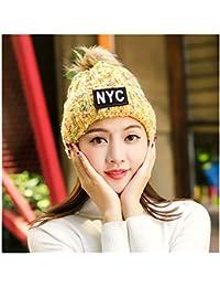 YN Sombrero Femenino otoño e Invierno versión Coreana de Punto Lana Sombrero  Invierno cálido Orejeras Gorras 53ae6bb0746