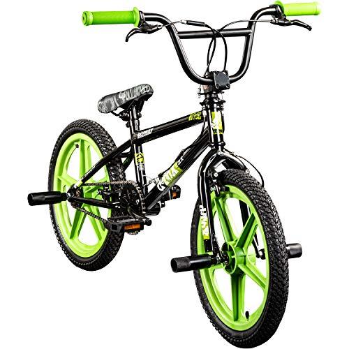 deTOX BMX 18 Zoll Rude Skyway Freestyle Bike Street Park Fahrrad viele Farben (schwarz/grün)