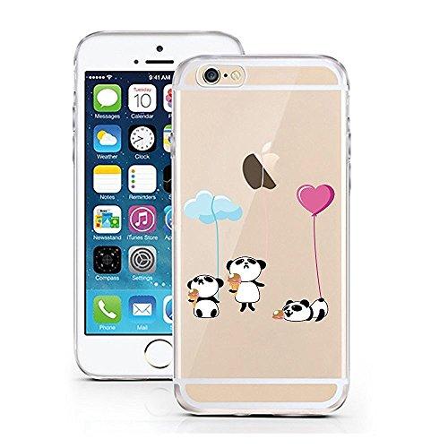 iPhone 6S Hülle von licaso® für das Apple iPhone 6 & 6S aus TPU Silikon Apple Juice Apfel-Saft Muster ultra-dünn schützt Dein iPhone & ist stylisch Schutzhülle Bumper Geschenk (iPhone 6 6S, Apple Juic Pandas mit Eis