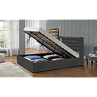 LED Bett TOKYO Doppelbett Polsterbett Lattenrost Kunstleder Bettgestell Gasdruckfeder (180x200, Grau)