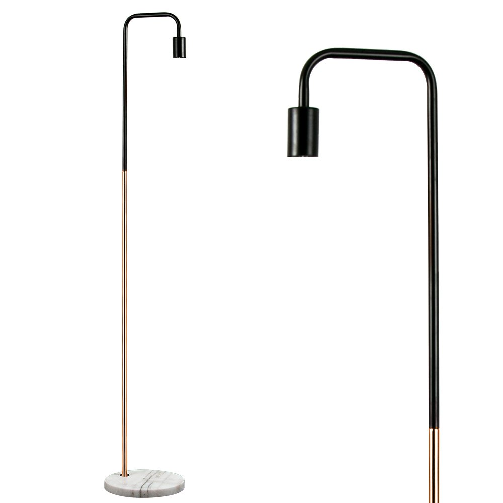 Retro Style Black and Copper Metal Floor Lamp with a White Marble ...