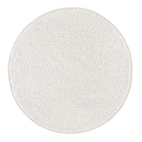 misento Shaggy Hochflor Teppich für Wohnzimmer Langflor, schadstoff geprüft 100 % Polypropylen, Creme-weiß rund 100 cm