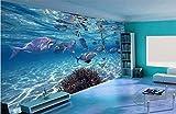 WH-PORP Tapete 3D Stereoskopische Unterwasserwelt von Meeresfischen Living Kinderzimmer TV Hintergrund 3D Wandbild Tapete-350cmX245cm