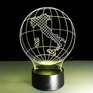 GZXCPC La ilusión óptica 3D llevó la luz de la noche de la iluminación de la lámpara, lámpara de mesa del mapa 7 colores con el cargador USB de acrílico para la decoración de la fiesta de la casa de los niños de la cabecera de los niños