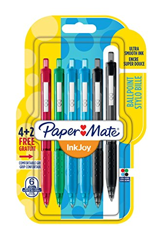 Paper mate inkjoy 300 rt penna a sfera a scatto con punta media da 1,0 mm, colori standard assortiti, confezione da 4+2 (1956574)