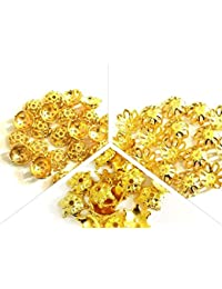 JBN Jewels Popular Gold Bead Cap Designs For Jewelry Making, Pack Of 120 Caps