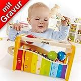 Hape Early Melodies Xylophon und Hammerspiel MIT Gravur (z.B. Namen) - Kinderküche, Spielküche