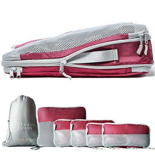 TRAVEL DUDE Packwürfel Set mit Kompression | Packing Cubes | Packtaschen Set & Gepäck Organizer für Rucksack & Koffer | Extra leichte Kleidertaschen | Weinrot, 7-teilig -