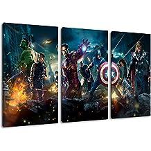 Héroes de Marvel pintura sobre lienzo, (Total Tamaño: 120x80 cm) enormes Fotos completamente enmarcadas con camilla, la lámina en cuadro de la pared con marco