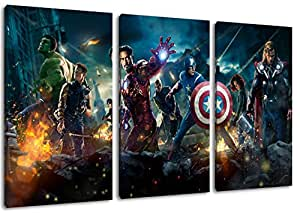 """Héros de Marvel peinture sur toile, 3 pièce (Total Taille: 120x80 cm"""") énormes Photos complètement encadrées de civière, impression de l'image Art mural avec cadre"""