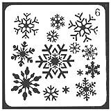 Lorsoul Serie di Natale - Fai da Te Stampa Stencil di Plastic Stampi Template, Patterns Fiocchi di Neve, per Photo Album, Album di Ritagli, Stampaggio Spray Craft - 13 * 13cm