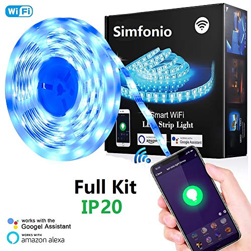 Simfonio Smart LED Strip 5m - LED Stripes steuerbar via App , Sprachunterstützung - WIFI LED Band 5m 5050SMD 150 LED RGB Strip Full Kit - LED Streifen Kit mit Fernbedienung