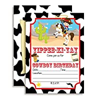"Cowboy Birthday Party Invitations for Boys, 20 5""x7"" Fill in Cards with Twenty White Envelopes by AmandaCreation."