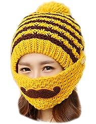 Vollter de las mujeres hecho punto grueso sombreros con Empalme color de la máscara caliente de Earflaps Barba Caps
