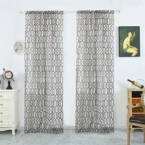 Geometric Print Tüll Tür Fenster Vorhang drapieren Rod-Pocket Gardine Single Voile für Schlafzimmer Badezimmer Wohnzimmer Kinderzimmer 1 Panel (Print-panel Vorhänge)
