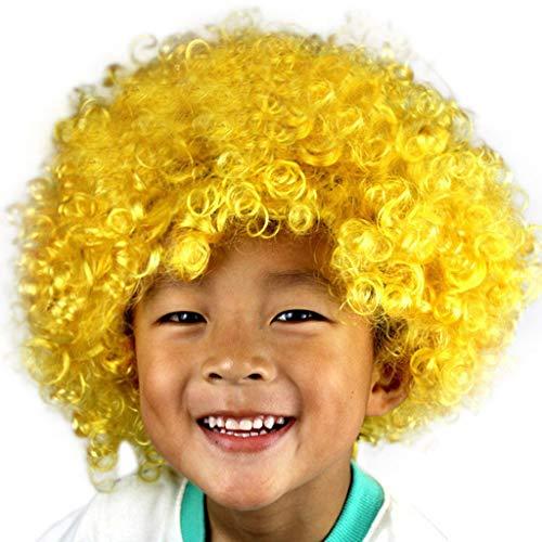 Lazzboy Maskerade Haar Party Disco Lustige Afro Clown Haar Fußball Fan-Kinder Afro Perücke(M,Mehrfarbig E)