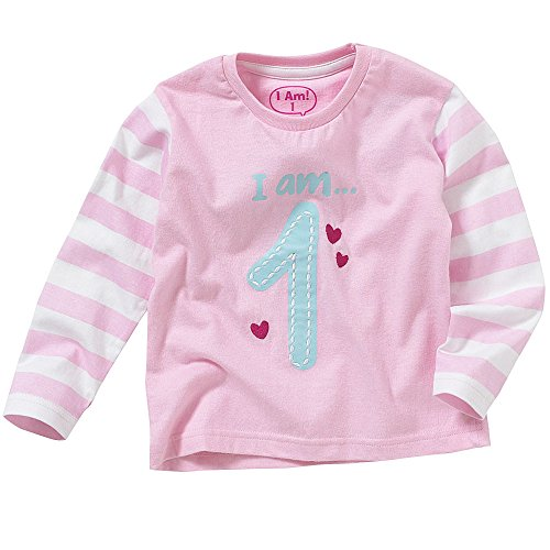 Toddler Boys Girls 1st 2nd 3rd 4th Birthday T-Shirt Tops Long Sleeve Cotton Stripes Characters - Pale Pink - Age 1