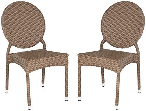 Safavieh Olivier Side Stuhl (Set 2), Rattan, Braun,56 X 43 X 87.88 cm (Wetter-wicker-tisch-set)