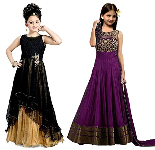 Market Magic World Girl's Banglori & Net Semi Stitched Kids Wear Salwar Suit (Gown)(MMW-09015_Black & Purpel_Free Size_8 to 12 year age)