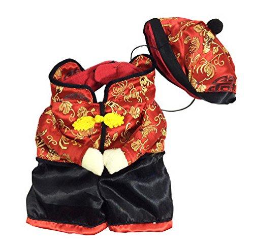 Chinese New Year Kostüm Dog - selmai Chinese New Year Dog Kostüm mit Mütze Jacke Fleece gefüttert Winter, für kleine Hund Katze Puppy