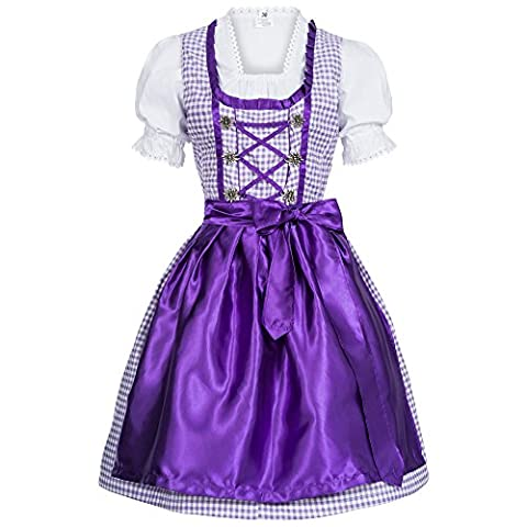 3 piece purple checkered traditional dirndl set: dress, blouse and apron for Oktoberfest, carnivals or theme parties, Size