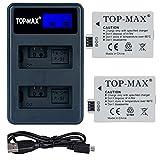TOP-MAX 2 Pack Kamera akkus LP-E5 + Dual USB Ladegerät für Canon EOS 450D, 500D, 1000D, Kiss F, Kiss X2, Kiss X3, Rebel Xsi