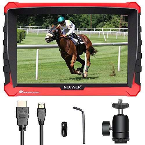 Neewer NW A7S Monitor de Campo de Cámara con Caja Silicona:7 Pulgadas 4K 1920x1200 IPS Pantalla,Entrada/Salida HDMI 16:10 o 4: 3 Ratio Pantalla Ajustable para Sony Nikon Olympus(Batería No Incluida)