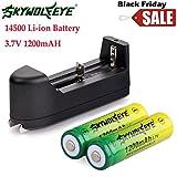 2 Stücke 14500 BRC Lithium Wiederaufladbare Batterie + 1 Stücke Intelligentes Ladekabel, Siswong 1200mAH Li-ion 3.7V Batterie Für Taschenlampe Lampe Fackel