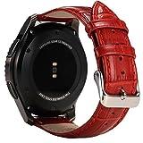 Vanctec für Samsung Gear S3 Armband, Leder Uhrenarmband 22mm Ersatz Band mit Edelstahl Schließe für Samsung Gear S3 Frontier / Classic Smartwatch, Rot
