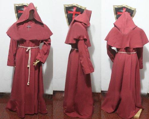 Red Monk Robe and Hood-Kostüm. Zauberer, Priester, Magier, oder Kardinal Gewand, Zauberer, Magier oder Priester Kostüm, Christian Jesus Kostüm,Größe XL: Höhe 182cm-190cm