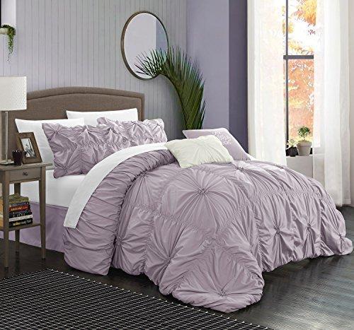 Chic Home 6Stück 'El HALPERT Floral Pinch Falte Rüschen Design-verziert Tröster Set, lavendel, Queen