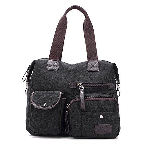Damen Handtasche, Gindoly Multi Pocket Large Schultertasche Tote Fashion Handtasche Canvas Hobo Bags für Reisen Schule Shopping und Arbeit (Schwarz) (Hobo Schwarz Stoff Handtaschen)